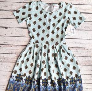 NWT LULAROE Amelia Dress Rare Unicorn Mint Dipped